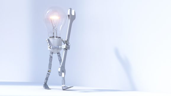 Lightbulb character and gears